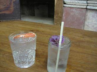 Purple flower in a Little Bird Gin drink at Maltby Market