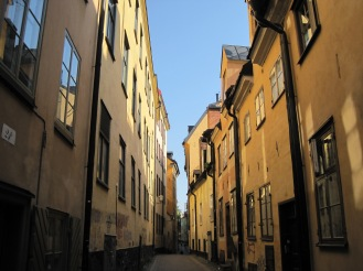 orange buildings in Stockholm