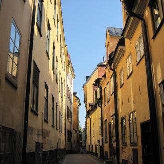 orange buildings in Stockholm