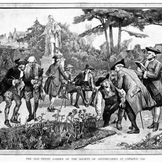 The_Physic_Garden,_Chelsea;_men_botanizing_in_the_garden,_ne_Wellcome_M0011870