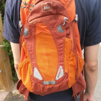 Our trusty orange backpack