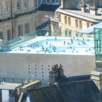 Blue water of the Thermae Bath Spa...we were there!