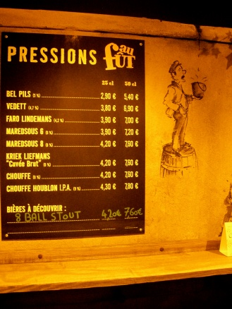 Orange menu at Les BerThom Belgian beer bar