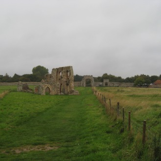 Ruins of an old Abbey in Dunwich. The last grave was right behind us!
