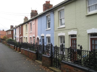 A pastel rainbow of homes in Aldeburgh, the town where we stayed