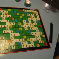 Trying to play Scrabble in Danish on Christmas Eve