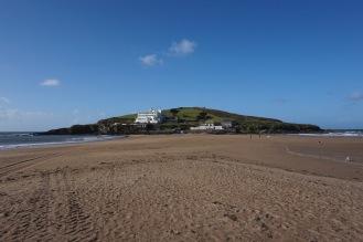 the sandbar leading to the hotel