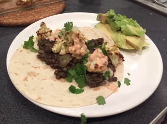 cauliflower and lentil tacos with chipotle mayo