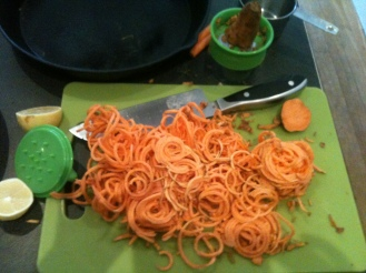 Spiralized sweet potato noodles for a Moroccan soup